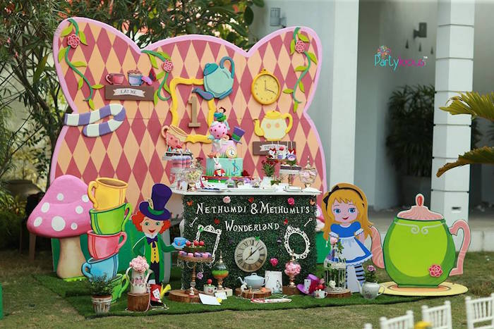 Alice in Wonderland dessert table from an Alice in Wonderland Birthday Tea Party on Kara's Party Ideas | KarasPartyIdeas.com (42)