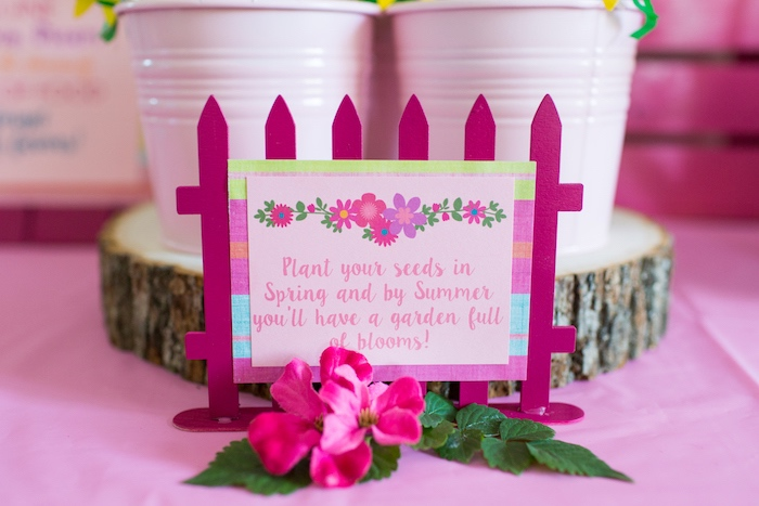 Picket fence party sign from an American Girl Doll WellieWishers Garden Birthday Party on Kara's Party Ideas | KarasPartyIdeas.com (17)