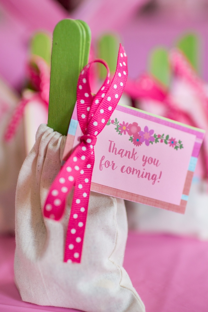 Garden favor sacks from a American Girl Doll WellieWishers Garden Birthday Party on Kara's Party Ideas | KarasPartyIdeas.com (15)