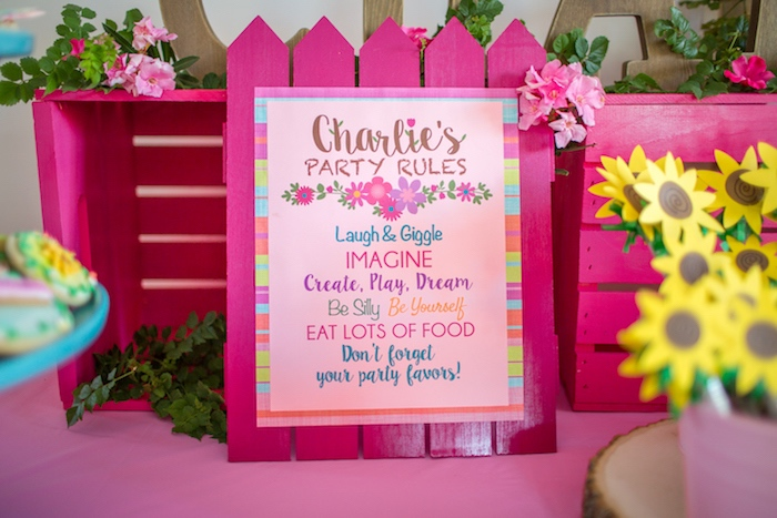 Pink picket fence party sign from an American Girl Doll WellieWishers Garden Birthday Party on Kara's Party Ideas | KarasPartyIdeas.com (14)