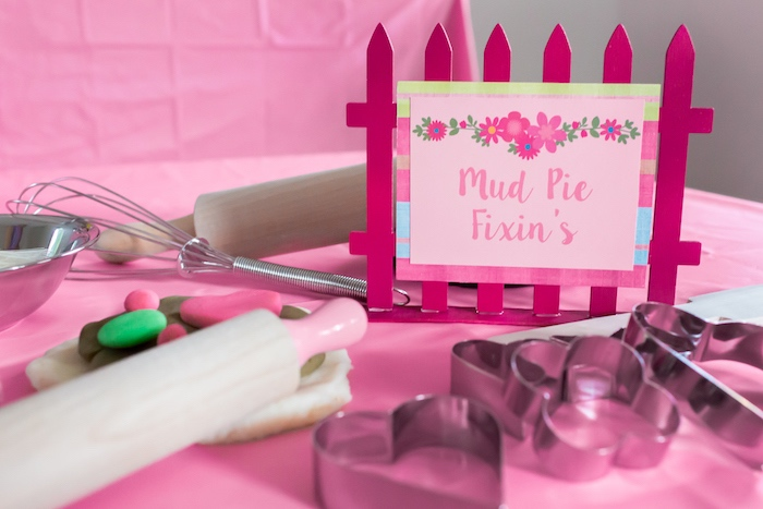 Play-Doh mud pie station from an American Girl Doll WellieWishers Garden Birthday Party on Kara's Party Ideas | KarasPartyIdeas.com (13)