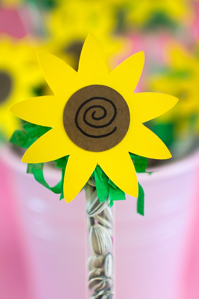 Sunflower seed wand favor from an American Girl Doll WellieWishers Garden Birthday Party on Kara's Party Ideas | KarasPartyIdeas.com (12)