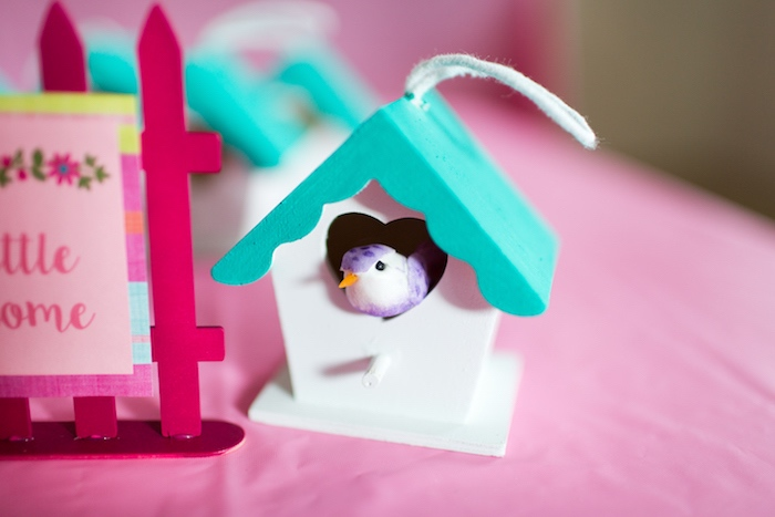 Birdhouse from an American Girl Doll WellieWishers Garden Birthday Party on Kara's Party Ideas   KarasPartyIdeas.com (10)