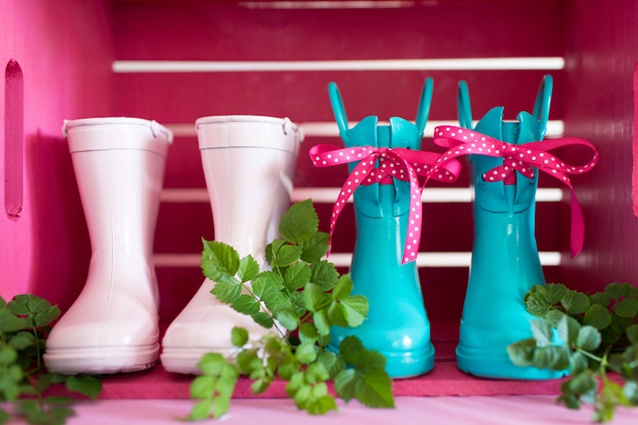 WellieWishers rain boots from an American Girl Doll WellieWishers Garden Birthday Party on Kara's Party Ideas | KarasPartyIdeas.com (8)