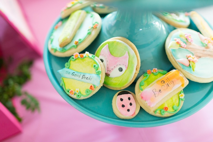 Fox + garden cookies from an American Girl Doll WellieWishers Garden Birthday Party on Kara's Party Ideas | KarasPartyIdeas.com (23)