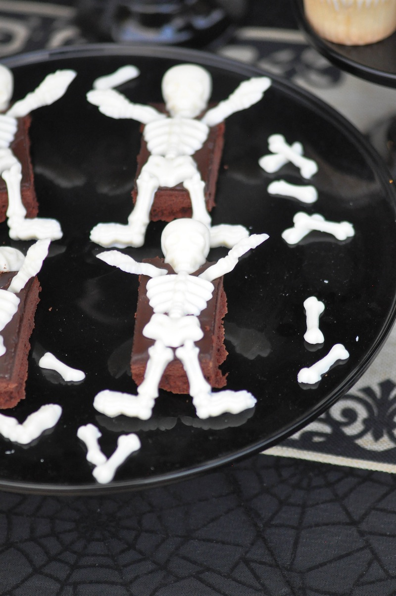 Skeleton Brownies! Boneyard Skull Halloween Party tablescape and dessert table by Kara Allen | Kara's Party Ideas for Party City