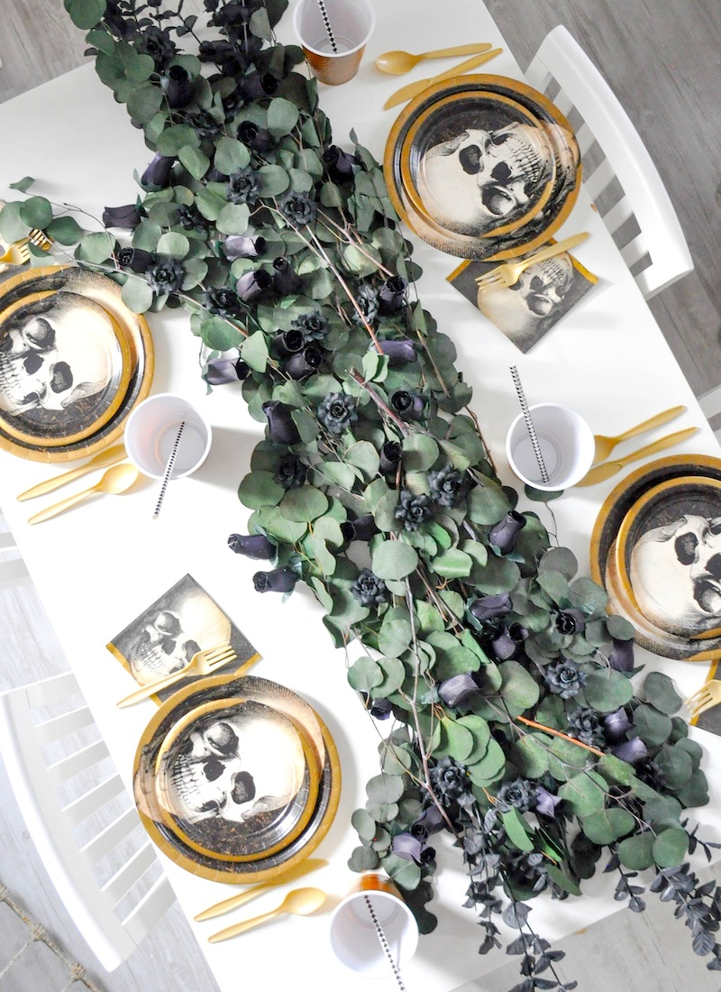 Boneyard Skull Halloween Party tablescape and dessert table by Kara Allen | Kara's Party Ideas for Party City