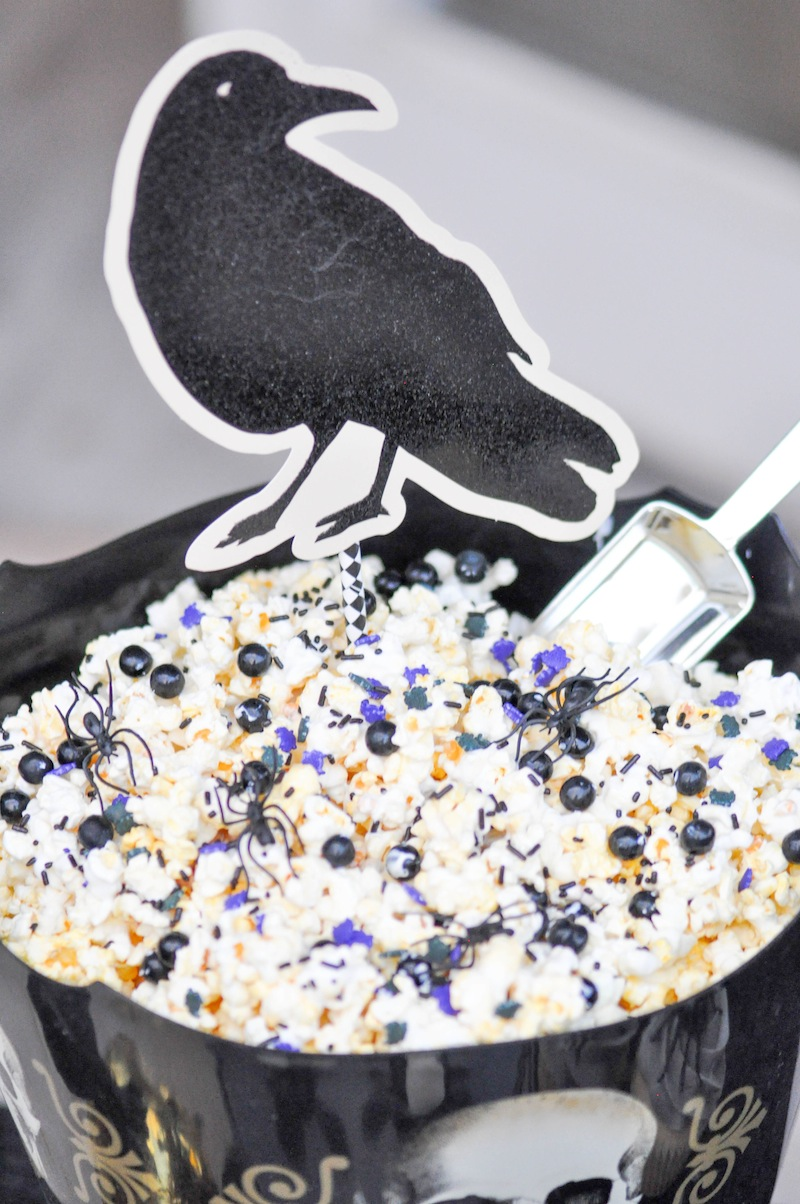 Halloween Popcorn! Boneyard Skull Halloween Party tablescape and dessert table by Kara Allen | Kara's Party Ideas for Party City