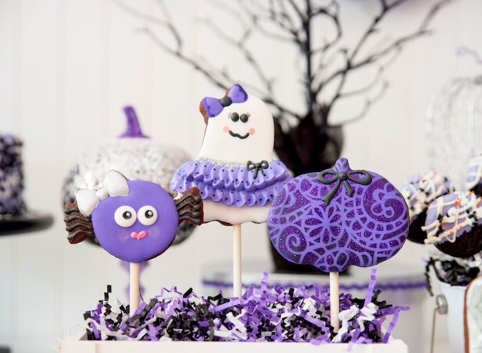 Halloween cookie pops from a Boo tiful Ball Halloween Ghouls Night Out Party via Kara's Party Ideas | KarasPartyIdeas.com (36)