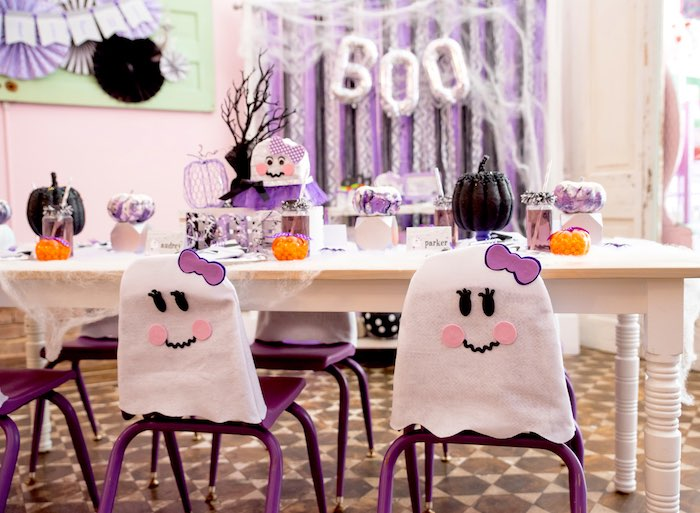 Guest table from a Boo tiful Ball Halloween Ghouls Night Out Party via Kara's Party Ideas | KarasPartyIdeas.com (29)