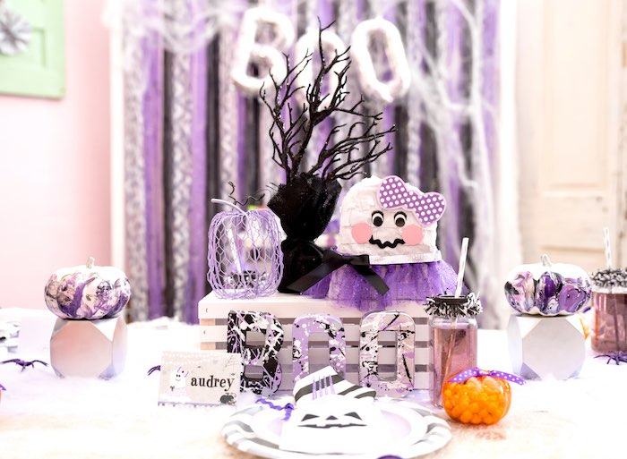 Ghost centerpiece from a Boo tiful Ball Halloween Ghouls Night Out Party via Kara's Party Ideas | KarasPartyIdeas.com (27)