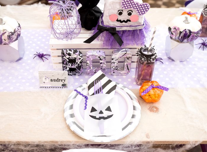 Halloween place setting from a Boo tiful Ball Halloween Ghouls Night Out Party via Kara's Party Ideas | KarasPartyIdeas.com (26)