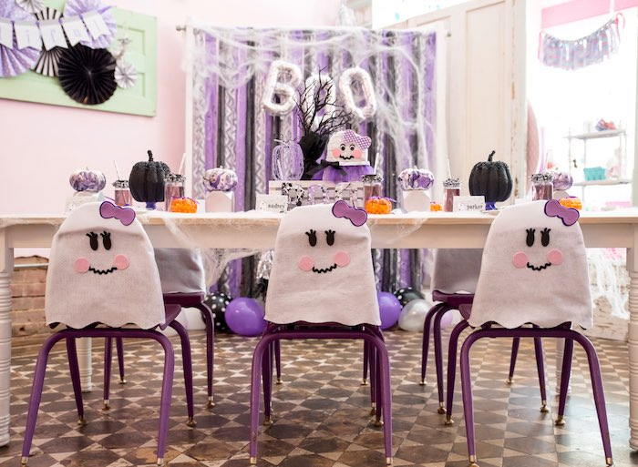Ghost guest table from a Boo tiful Ball Halloween Ghouls Night Out Party via Kara's Party Ideas | KarasPartyIdeas.com (23)