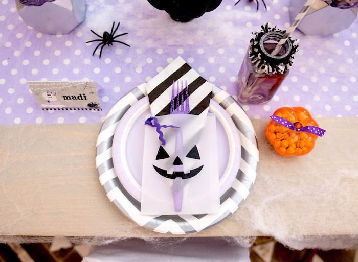 Halloween place setting from a Boo tiful Ball Halloween Ghouls Night Out Party via Kara's Party Ideas | KarasPartyIdeas.com (22)
