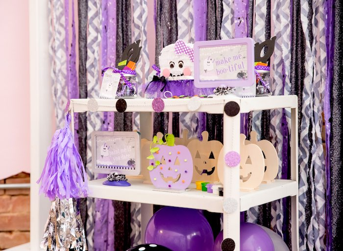 Craft cart from a Boo tiful Ball Halloween Ghouls Night Out Party via Kara's Party Ideas | KarasPartyIdeas.com (18)