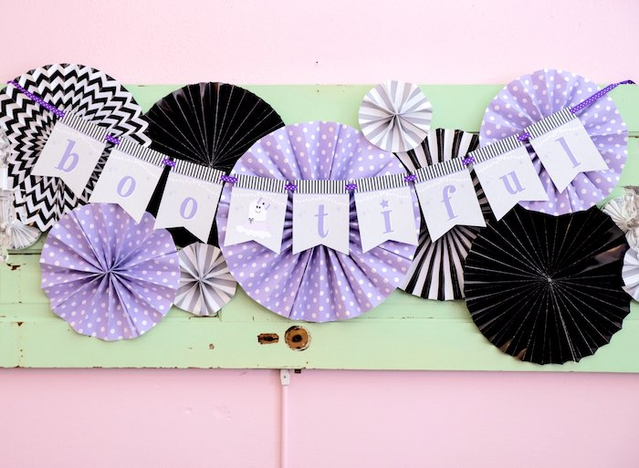 Paper fan banner from a Boo tiful Ball Halloween Ghouls Night Out Party via Kara's Party Ideas | KarasPartyIdeas.com (14)