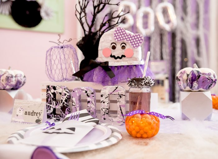 Ghost centerpieces from a Boo tiful Ball Halloween Ghouls Night Out Party via Kara's Party Ideas | KarasPartyIdeas.com (13)