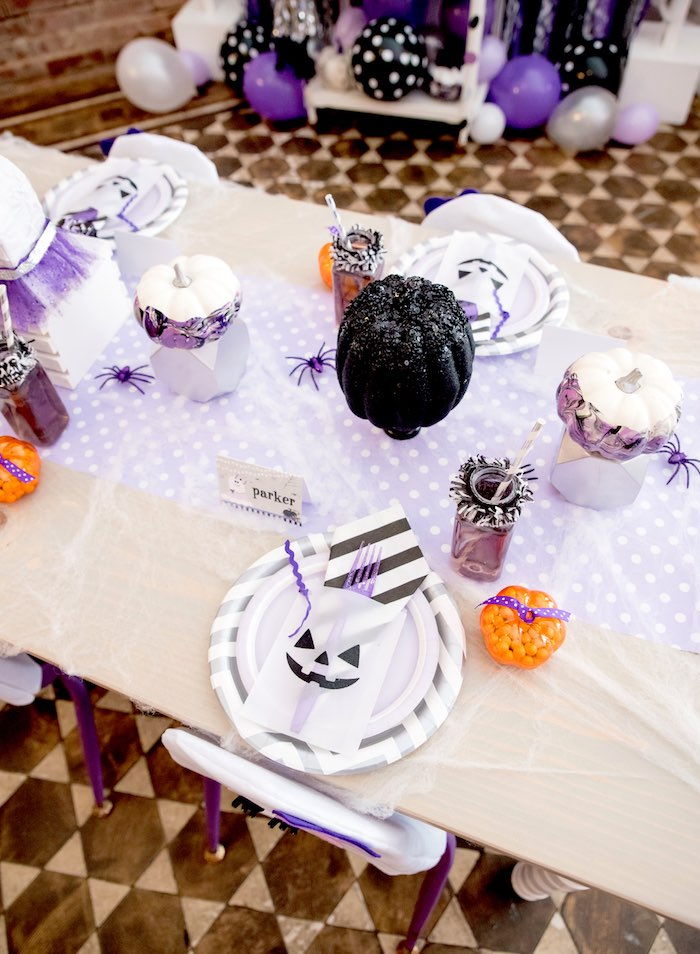 Dining tabletop from a Boo tiful Ball Halloween Ghouls Night Out Party via Kara's Party Ideas | KarasPartyIdeas.com (12)