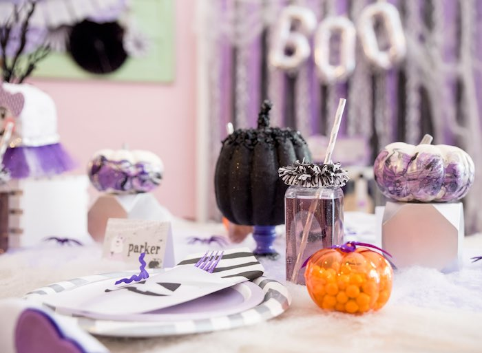 Place setting from a Boo tiful Ball Halloween Ghouls Night Out Party via Kara's Party Ideas | KarasPartyIdeas.com (11)
