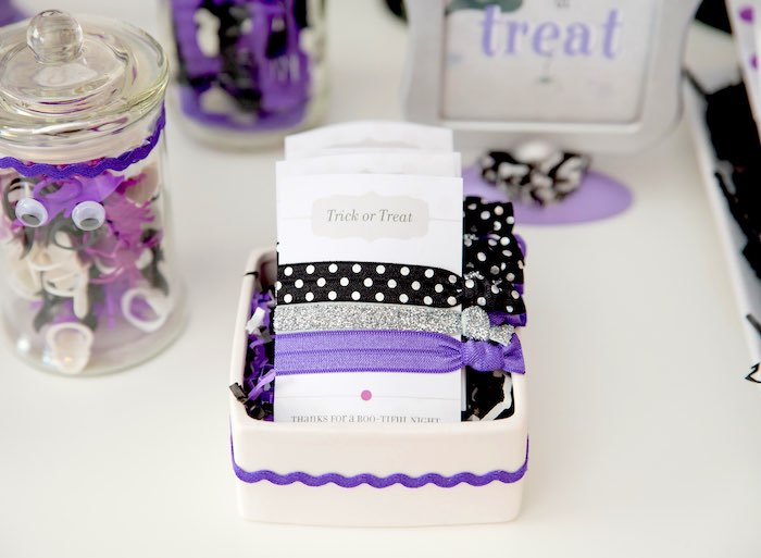 Hair tie favors from a Boo tiful Ball Halloween Ghouls Night Out Party via Kara's Party Ideas | KarasPartyIdeas.com (43)