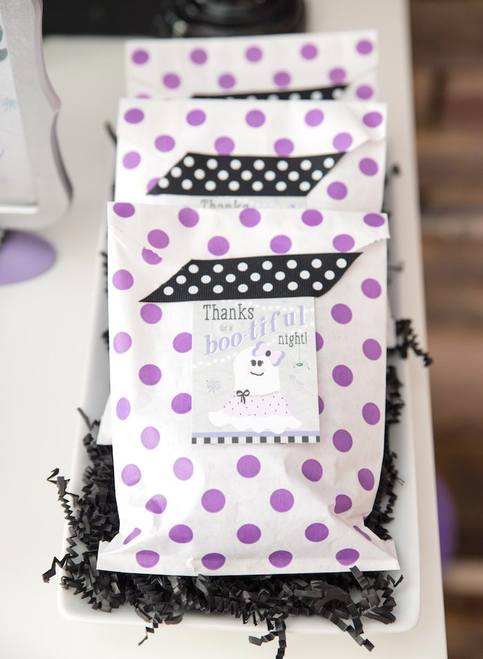 Purple polka dot snack bags from a Boo tiful Ball Halloween Ghouls Night Out Party via Kara's Party Ideas | KarasPartyIdeas.com (42)