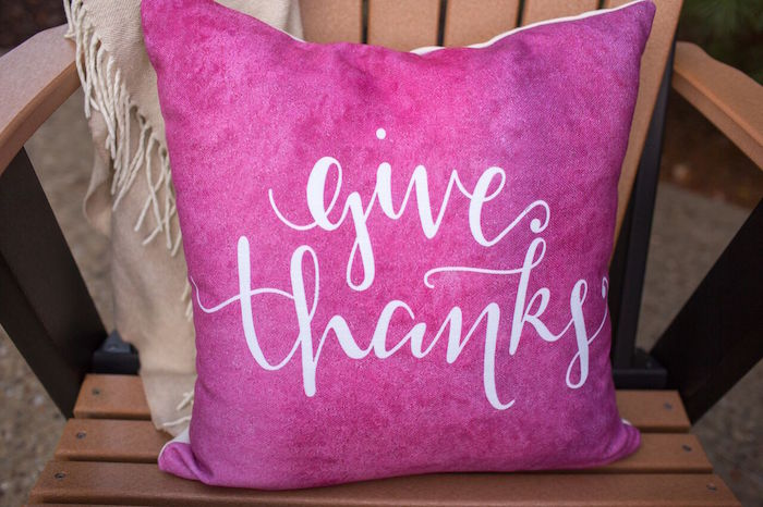 Give thanks pillow from a Bordeaux and Blush Friendsgiving Dinner Party on Kara's Party Ideas | KarasPartyIdeas.com (19)