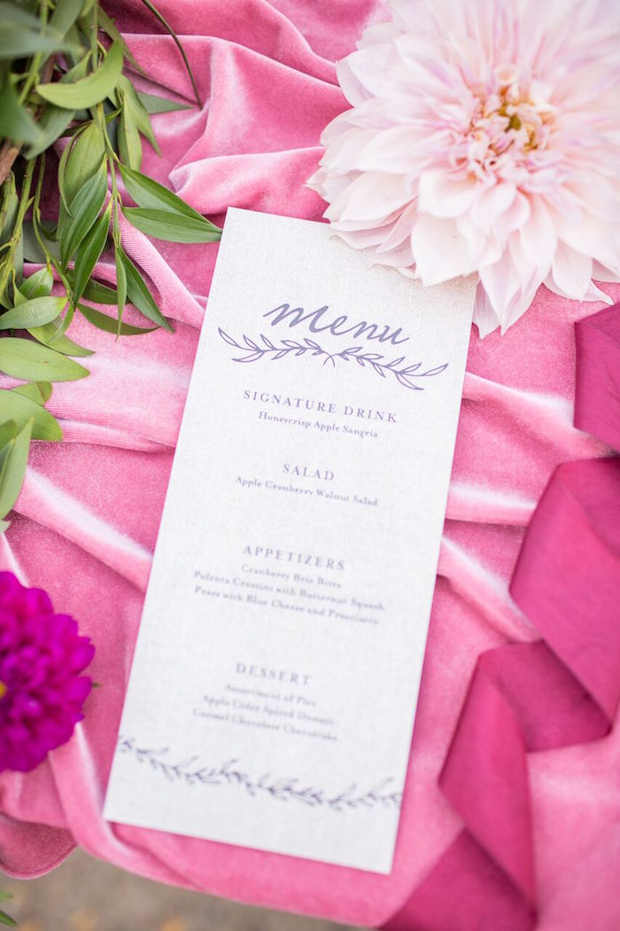 Menu card from a Bordeaux and Blush Friendsgiving Dinner Party on Kara's Party Ideas | KarasPartyIdeas.com (11)