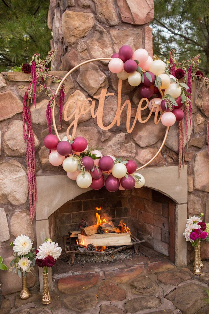 Gather wreath from a Bordeaux and Blush Friendsgiving Dinner Party on Kara's Party Ideas | KarasPartyIdeas.com (7)