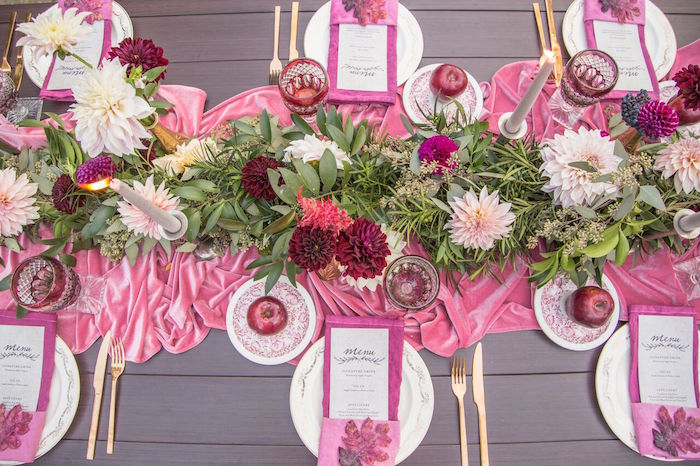 Gorgeous guest table spread from a Bordeaux and Blush Friendsgiving Dinner Party on Kara's Party Ideas | KarasPartyIdeas.com (45)