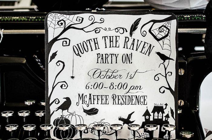 Edgar Allen Poe Halloween Party Invitation from an Edgar Allen Poe Inspired Halloween Party on Kara's Party Ideas | KarasPartyIdeas.com (10)