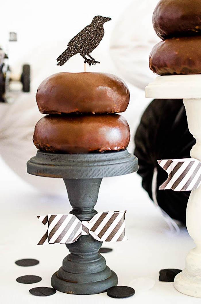 Pedestal of chocolate doughnuts from an Edgar Allen Poe Inspired Halloween Party on Kara's Party Ideas | KarasPartyIdeas.com (5)