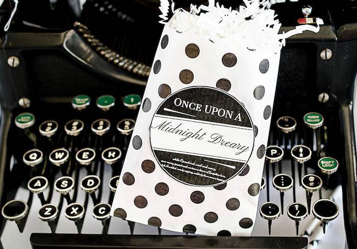 Black + white polka dot snack bag from an Edgar Allen Poe Inspired Halloween Party on Kara's Party Ideas | KarasPartyIdeas.com (19)