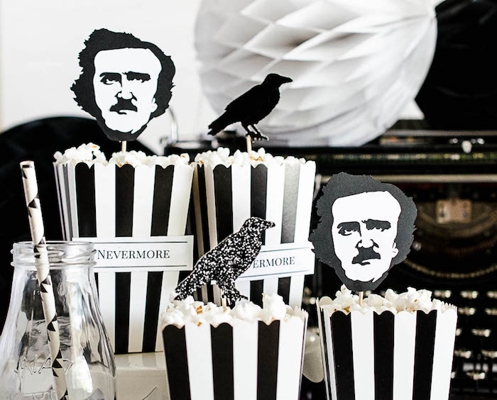 Nevermore popcorn from an Edgar Allen Poe Inspired Halloween Party on Kara's Party Ideas | KarasPartyIdeas.com (18)