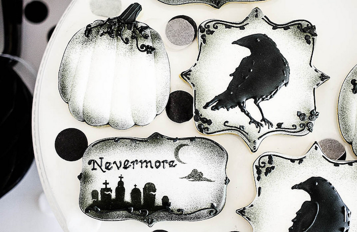 Halloween cookies from an Edgar Allen Poe Inspired Halloween Party on Kara's Party Ideas | KarasPartyIdeas.com (17)