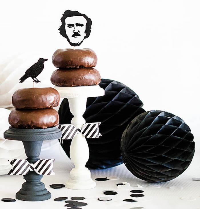 Doughnuts on pedestals from an Edgar Allen Poe Inspired Halloween Party on Kara's Party Ideas | KarasPartyIdeas.com (15)