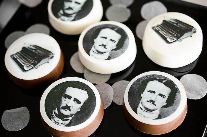 Edgar Allen Poe Oreos from an Edgar Allen Poe Inspired Halloween Party on Kara's Party Ideas | KarasPartyIdeas.com (14)