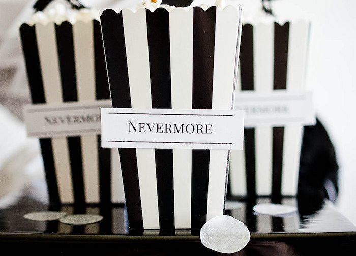 Black + white striped Nevermore popcorn boxes from an Edgar Allen Poe Inspired Halloween Party on Kara's Party Ideas | KarasPartyIdeas.com (12)