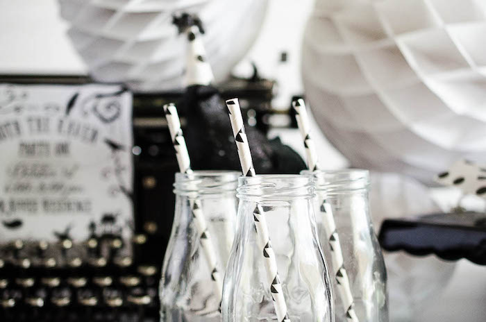 Drink bottles from an Edgar Allen Poe Inspired Halloween Party on Kara's Party Ideas | KarasPartyIdeas.com (11)