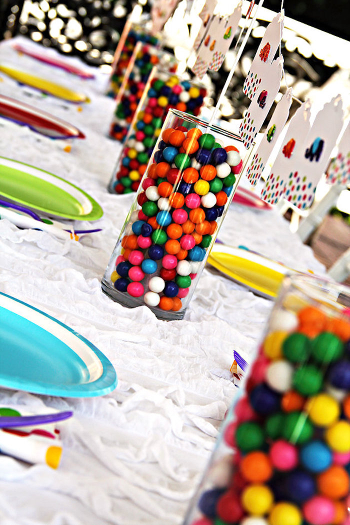 Gumball centerpieces from an Elmer the Elephant Rainbow Birthday Party on Kara's Party Ideas | KarasPartyIdeas.com (3)