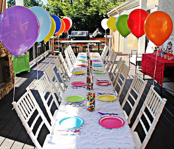 Guest table from an Elmer the Elephant Rainbow Birthday Party on Kara's Party Ideas | KarasPartyIdeas.com (12)