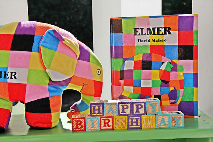 Elmer Elephant book and plush from an Elmer the Elephant Rainbow Birthday Party on Kara's Party Ideas | KarasPartyIdeas.com (6)