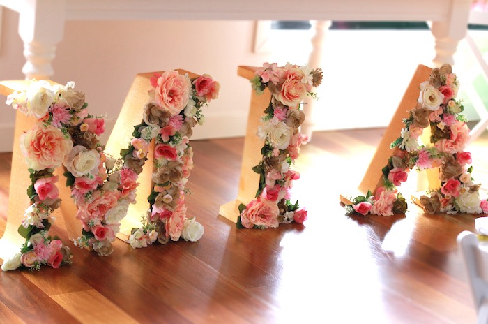 Floral letter name sign from a Floral Carousel Birthday Party on Kara's Party Ideas | KarasPartyIdeas.com (18)
