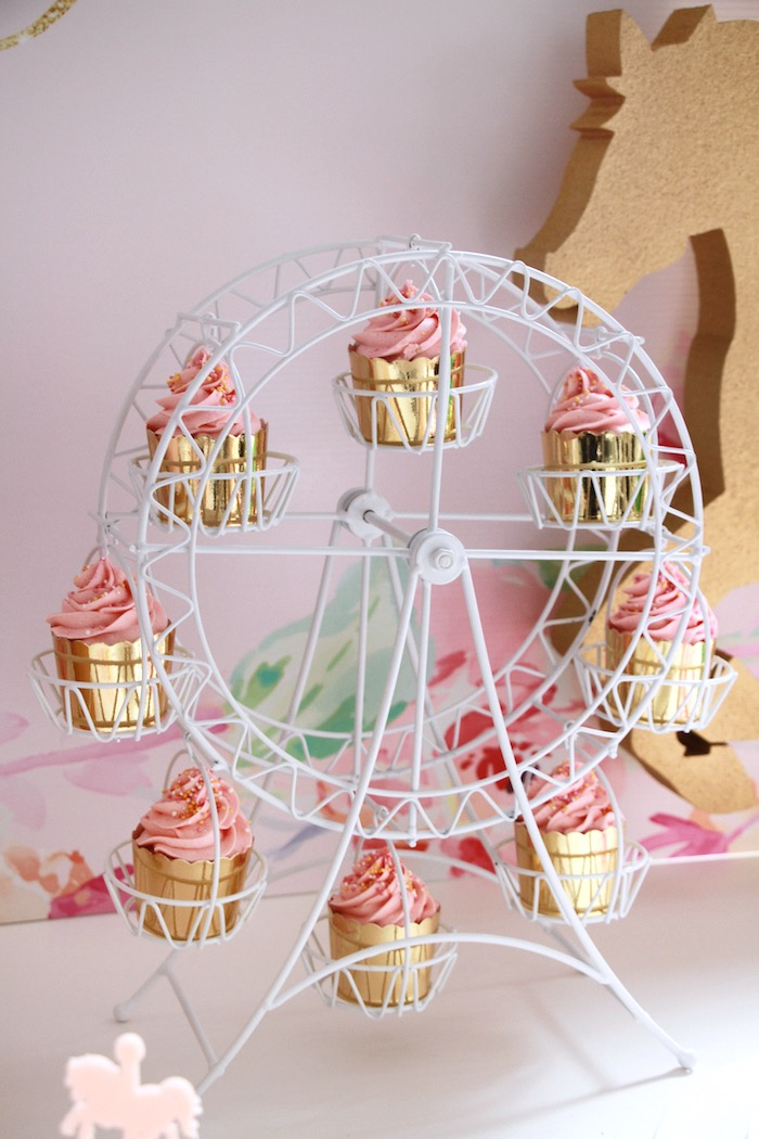 Ferris wheel of cupcakes from a Floral Carousel Birthday Party on Kara's Party Ideas | KarasPartyIdeas.com (15)