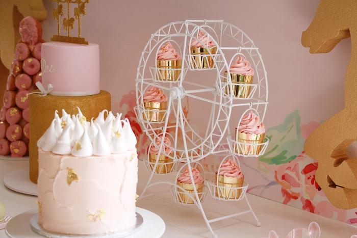 Cakes + cupcakes from a Floral Carousel Birthday Party on Kara's Party Ideas   KarasPartyIdeas.com (11)