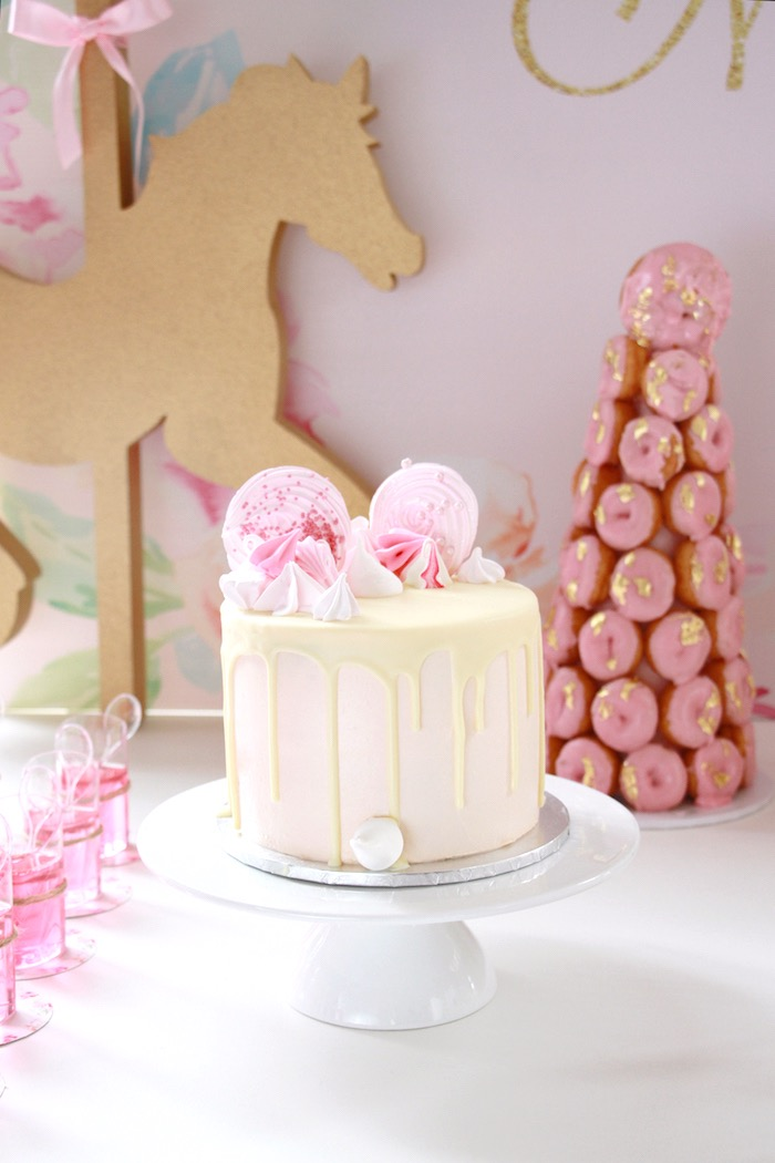Meringue drizzle cake from a Floral Carousel Birthday Party on Kara's Party Ideas   KarasPartyIdeas.com (8)
