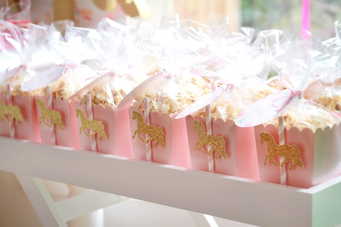 Popcorn boxes from a Floral Carousel Birthday Party on Kara's Party Ideas | KarasPartyIdeas.com (5)