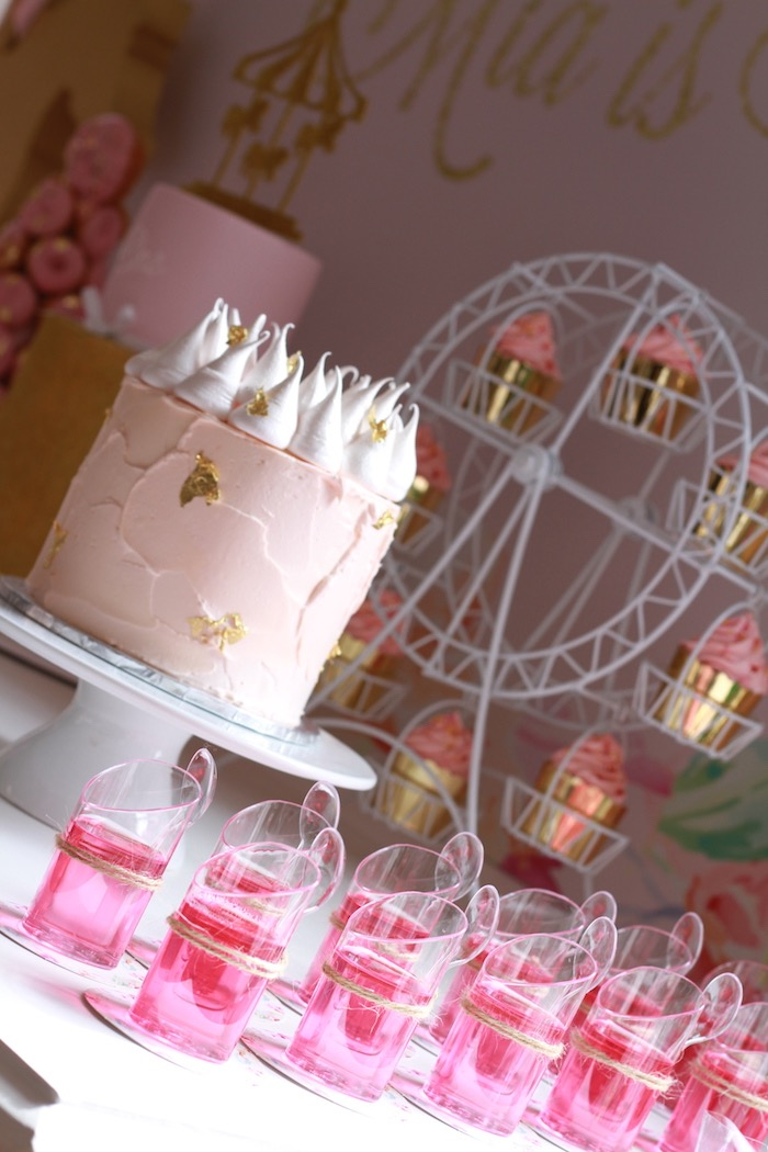 Cake & jello cups from a Floral Carousel Birthday Party on Kara's Party Ideas   KarasPartyIdeas.com (23)