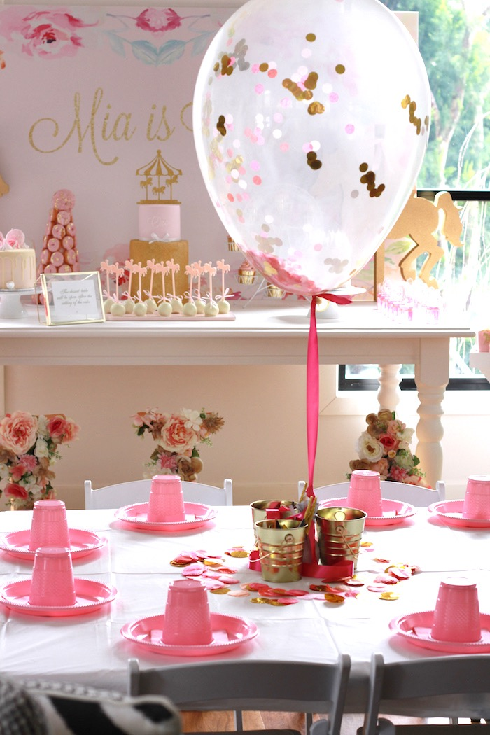 Guest tablescape from a Floral Carousel Birthday Party on Kara's Party Ideas | KarasPartyIdeas.com (21)
