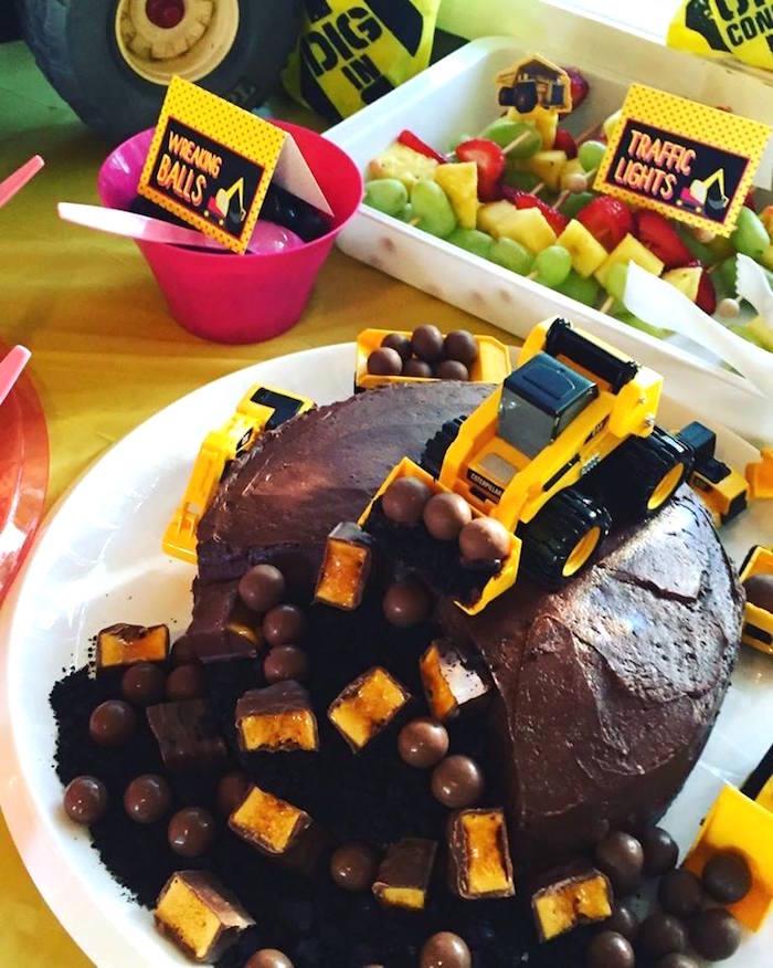 Construction-inspired cake from a Girly Construction Themed Birthday Party on Kara's Party Ideas | KarasPartyIdeas.com (4)