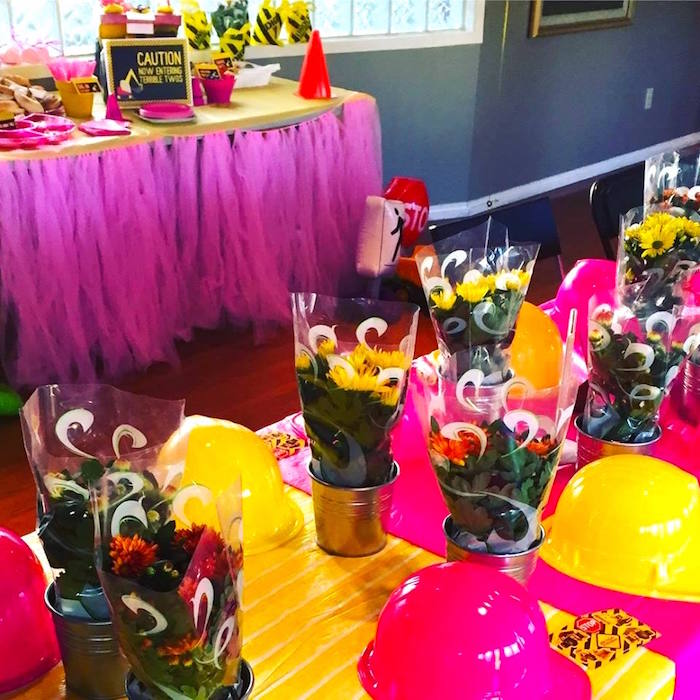 Pink party hats and flowers from a Girly Construction Themed Birthday Party on Kara's Party Ideas | KarasPartyIdeas.com (17)